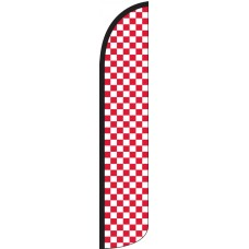 Checkered Red/White Wind-Free Feather Flag