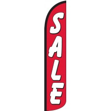 Sale (Red & White) Wind-Free Feather Flag