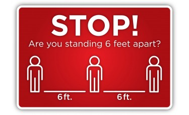 """Social Distancing """"6 Feet Apart"""" - 12"""" x 18"""" COVID-19 Prevention Sign"""