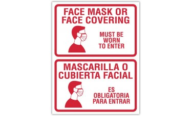 """Face Masks Required Bilingual - 12"""" x 18"""" COVID-19 Prevention Sign"""