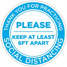 """Thank You For Practicing Social Distancing Blue Floor Stickers - 12"""" Circle"""