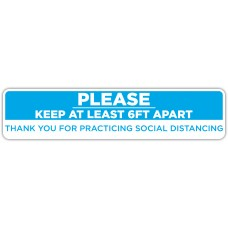 """Thank You For Practicing Social Distancing Blue Floor Stickers - 24.5"""" x 5.5"""" Rectangle"""
