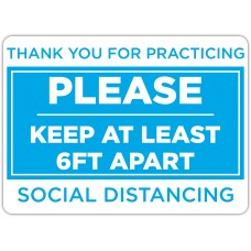 """Thank You For Practicing Social Distancing Blue Floor Stickers - 16.5"""" x 12"""" Rectangle"""