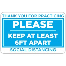"""Thank You For Practicing Social Distancing Blue Floor Stickers - 12.5"""" x 8"""" Rectangle"""