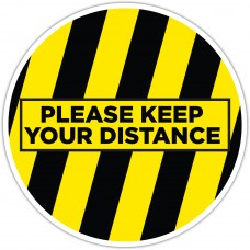"Please Keep Your Distance Yellow/Black Floor Stickers - 12"" Circle"