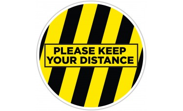 """Please Keep Your Distance Yellow/Black Floor Stickers - 12"""" Circle"""