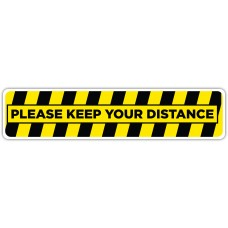 "Please Keep Your Distance Yellow/Black Floor Stickers - 24.5"" x 5.5"" Rectangle"