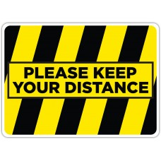 "Please Keep Your Distance Yellow/Black Floor Stickers - 16.5"" x 12"" Rectangle"