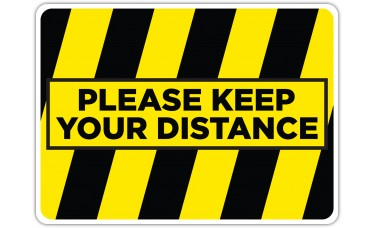 """Please Keep Your Distance Yellow/Black Floor Stickers - 16.5"""" x 12"""" Rectangle"""