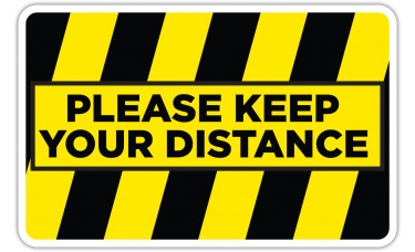 "Please Keep Your Distance Yellow/Black Floor Stickers - 12.5"" x 8"" Rectangle"