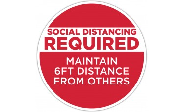 "Social Distancing Required Red Floor Stickers - 12"" Circle"