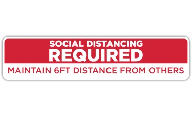 "Social Distancing Required Red Floor Stickers - 24.5"" x 5.5"" Rectangle"