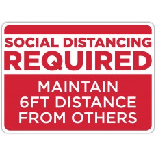 "Social Distancing Required Red Floor Stickers - 16.5"" x 12"" Rectangle"
