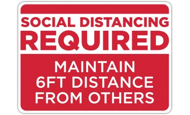 """Social Distancing Required Red Floor Stickers - 16.5"""" x 12"""" Rectangle"""