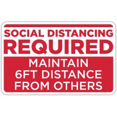 "Social Distancing Required Red Floor Stickers - 12.5"" x 8"" Rectangle"
