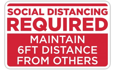 """Social Distancing Required Red Floor Stickers - 12.5"""" x 8"""" Rectangle"""
