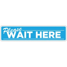 "Please Wait Here Blue Floor Stickers - 24.5"" x 5.5"" Rectangle"