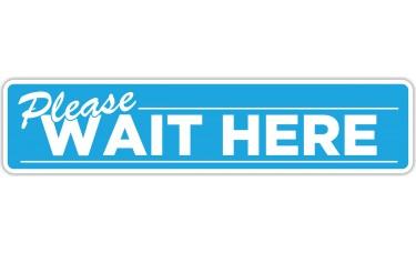 "Please Wait Here Blue Floor Stickers - 24.5"" x 5.5"" Rectangle"