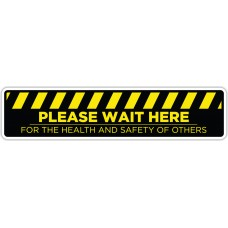 "Please Wait Here Yellow/Black Floor Stickers - 24.5"" x 5.5"" Rectangle"
