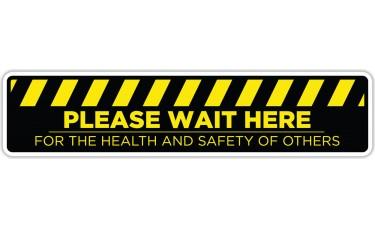 "Please Wait Here Yellow/Black Floor Stickers - 24.5"" x 5.5"" Rectangle"