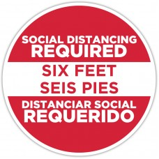 "Social Distancing Required Red Spanish Bilingual Floor Stickers - 12"" Circle"