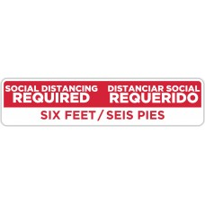 "Social Distancing Required Spanish Bilingual Red Floor Stickers - 24.5"" x 5.5"" Rectangle"
