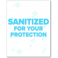 "Sanitized For Your Protection Table Signs - 5.75"" x 7.5"""