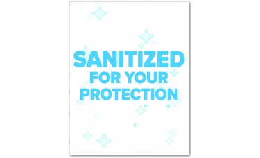 """Sanitized For Your Protection Table Signs - 5.75"""" x 7.5"""""""