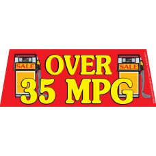 Over 35MPG Red/Yellow Windshield Banner