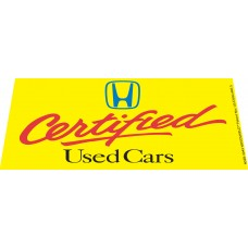 Honda Certified Used Cars Windshield Banner