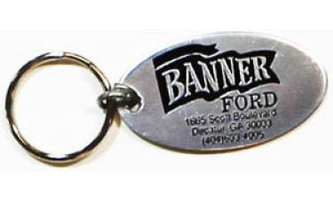 Aluminum Keychains - Silver Oval