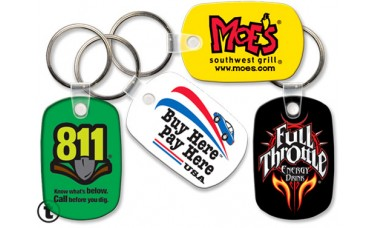 Screen Printed Soft Touch Keychains - Oblong