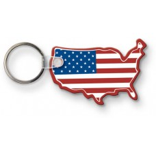 Screen Printed Soft Touch Keychains - USA