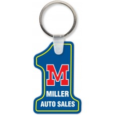 Full Color Digital Soft Touch Keychains - Number One