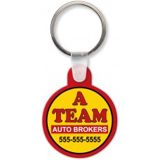 Full Color Digital Soft Touch Keychains - Round with Tab