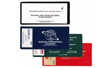 "Insurance Card Holders - 9-1/4""(W) x 4-1/4""(H) - with Business Card Pocket - Opens on Short Side"