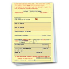 """Vehicle Deal Label Forms - 3-Part Carbon - 3-1/4"""" x 4-3/4"""" (Package of 100)"""