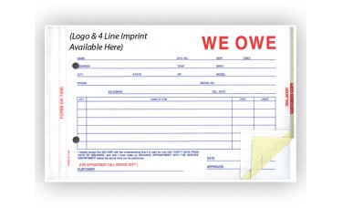 We Owe Forms - Custom (Package of 500)