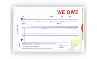 We Owe Forms - Stock (Package of 100)