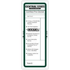 "Custom Full Color Digital Paper-Backed Dealership Laser Window Labels - 4-1/4"" x 11"" (Package of 50)"