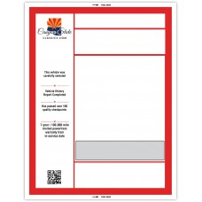 "Custom ""Clear Back"" Dealership Laser Window Labels - 8-1/2"" x 11"" (Package of 50)"