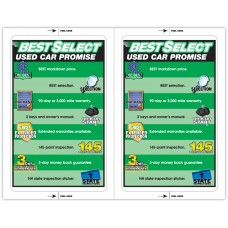 "Custom Full Color Digital Paper-Backed Dealership Laser Window Labels - 2 Up (5-1/2"" x 8-1/2"") (Package of 50)"
