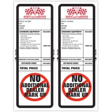 "Custom ""Clear Back"" Dealership Laser Window Labels - 2 Up (4-1/4"" x 11"") (Package of 50)"