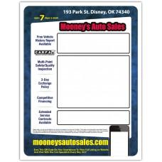 "Custom Full Color Digital Outdoor Application Dealership Laser Window Labels - 8-1/2"" x 11"" (Package of 100)"