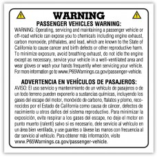 Auto Dealer Proposition 65 Warning Stickers (Package of 100)