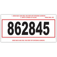 """""""Clear Back"""" Stock Mini Number Signs With Numbering - 3"""" x 6"""" - White with Red Border (Package of 250)"""