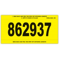 """""""Clear Back"""" Stock Mini Number Signs With Numbering - 3"""" x 6"""" - Yellow (Package of 250)"""