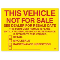 This Vehicle Is Not For Sale Check Box Stickers (Package of 100)