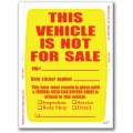 """""""Clear Back"""" This Vehicle Not For Sale Stickers"""