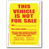 """""""Clear Back"""" This Vehicle Is Not For Sale Stickers (Package of 250)"""